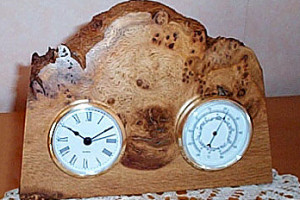 Photograph of a wooden bar clock