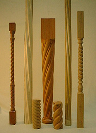 Photograph of some turned components with twists and flutes